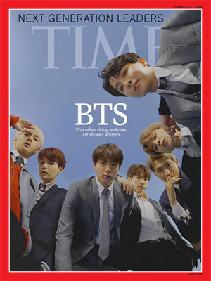 """""""Leaders of the next generation"""" The first Korean idol group to appear on the cover of Time Magazine BTS"""